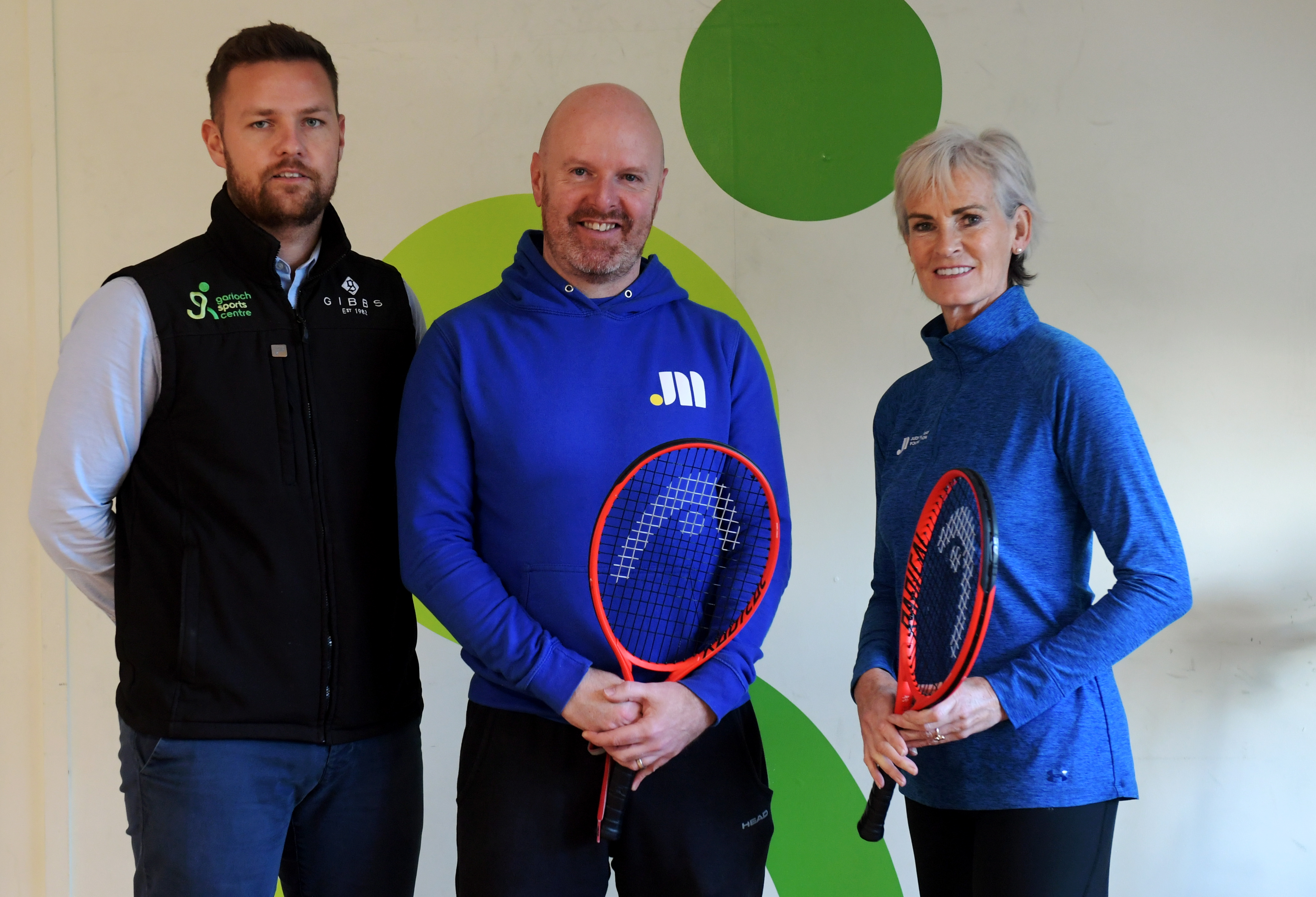 Garioch Sports Centre chief operating officer Kevin Bonarius, Judy Murray Foundation project manager Kris Soutar and Judy Murray.  Picture by Kath Flannery