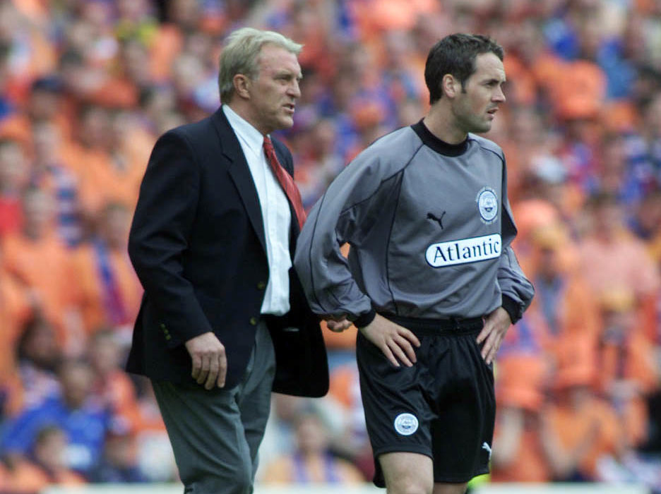 Striker Robbie Winters, right, is sent on as a replacement goalkeeper by then-Dons boss Ebbe Skovdahl during the 2000 Scottish Cup final.