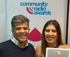 Gemma-Leigh James with Sam Sethi who won silver in the newcomer category.