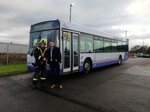 The bus has been donated to firefighters in the north-east