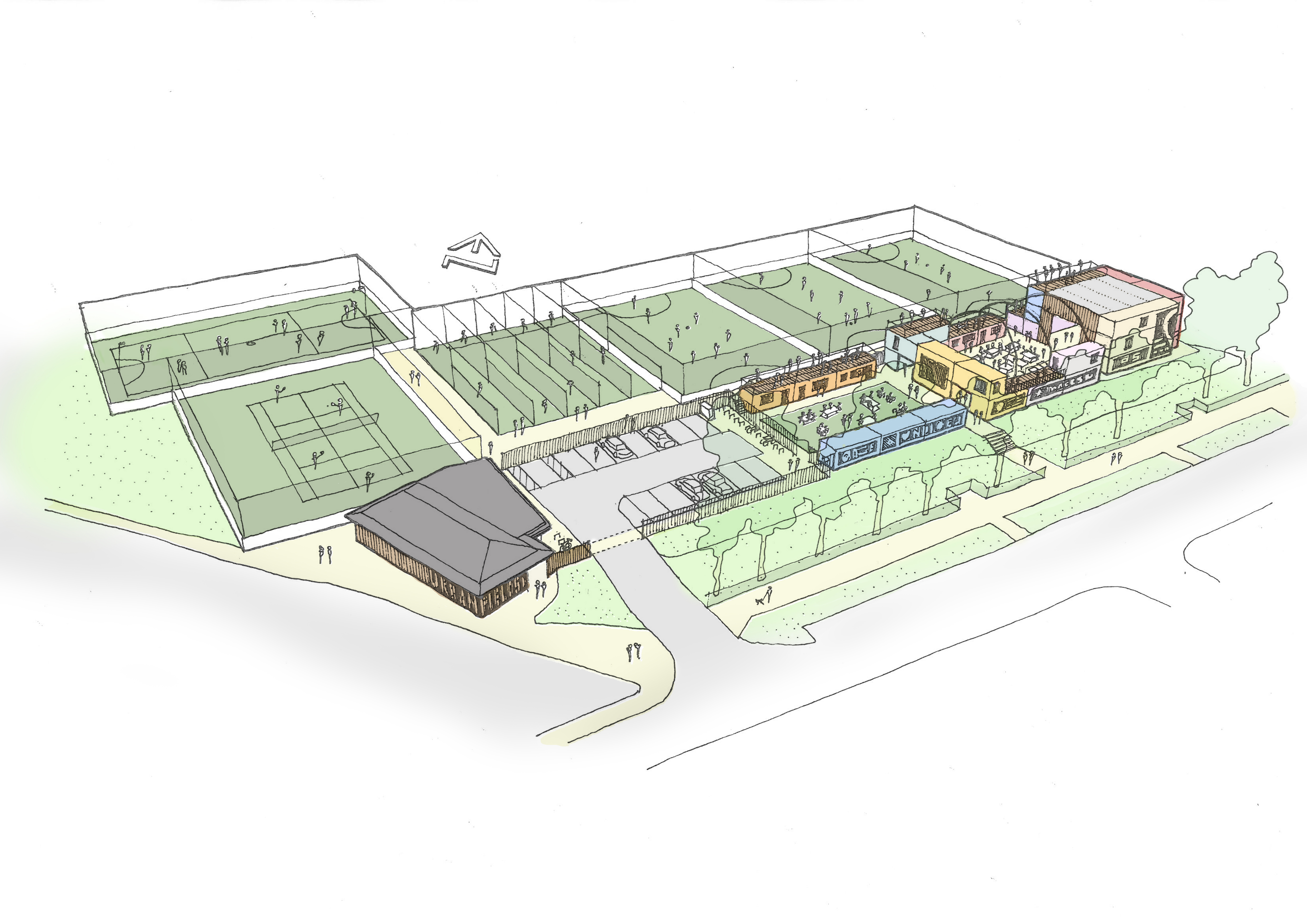 Nelson Street Playing Fields - artist impression of how the Urban fields could look