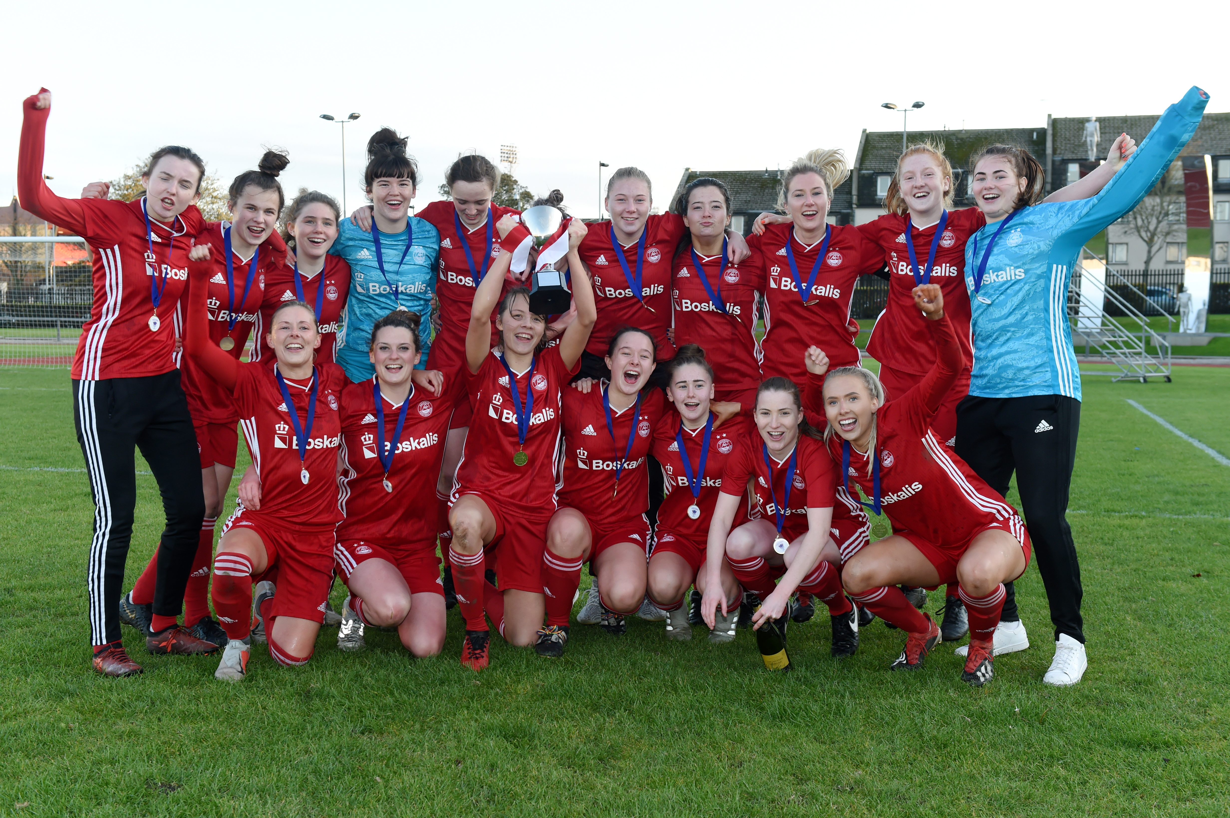 Aberdeen FC Women being presented with the SWFL Division One North trophy.