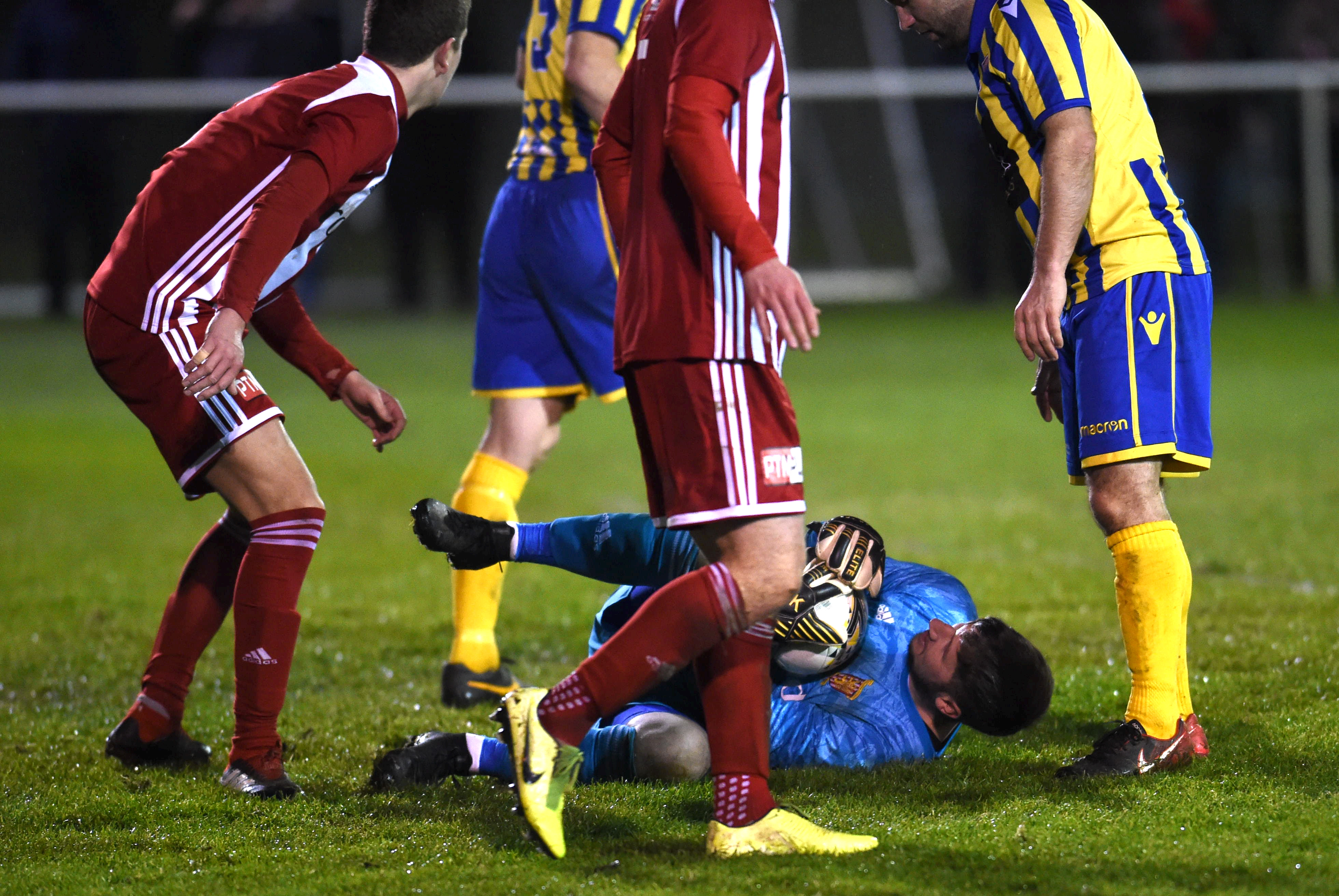 Kevin Main makes a save for Formartine. Picture by Paul Glendell