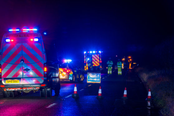 The scene of the crash on the Tullo Straight section of the A947.