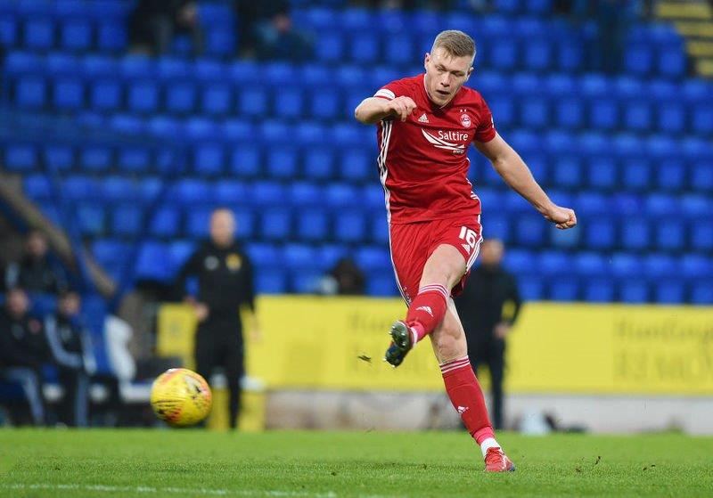 Aberdeen's Sam Cosgrove scores the opener against St Johnstone for his 17th goal of the season.