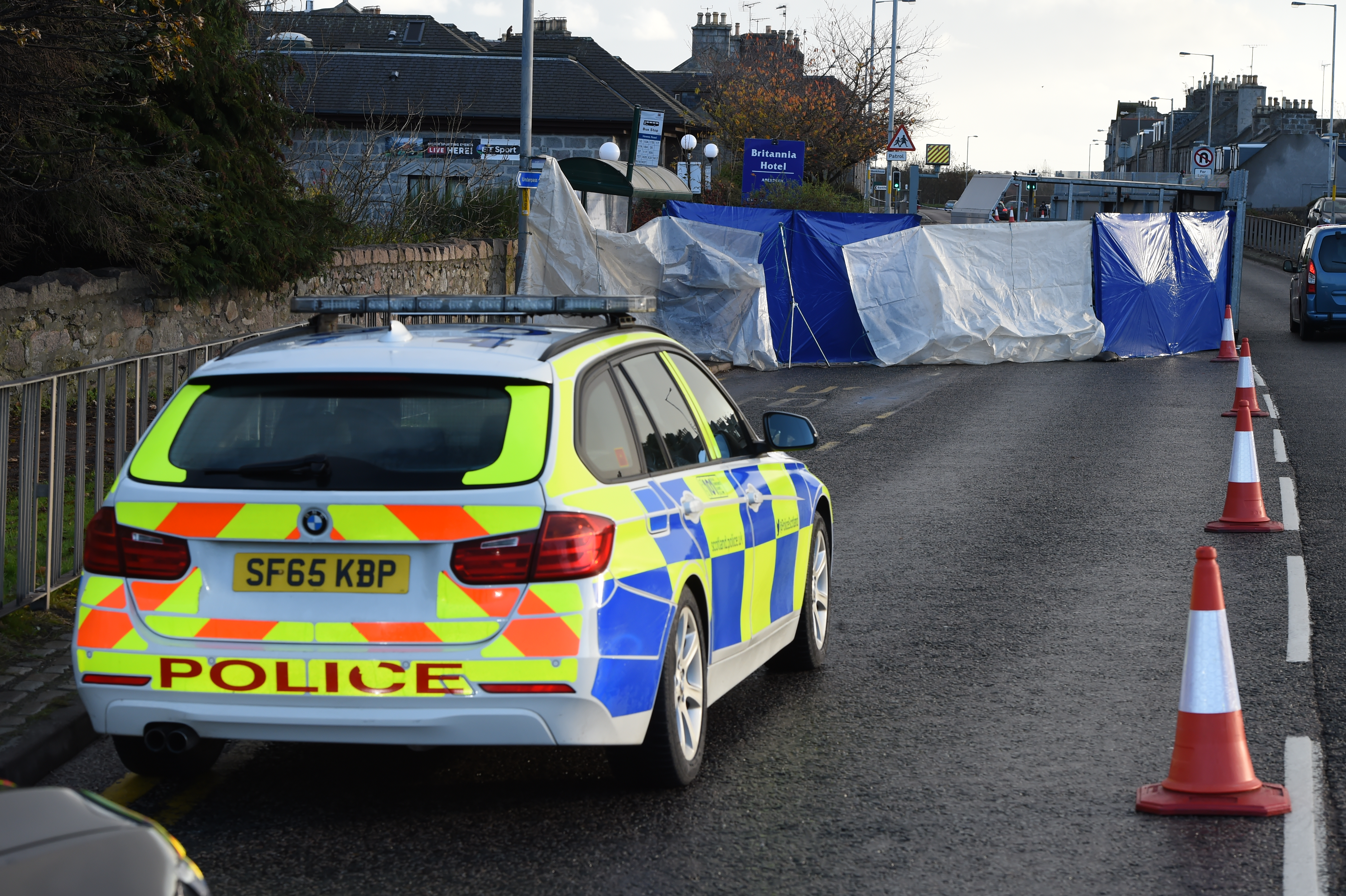 Police at the scene of the incident on Inverurie Road