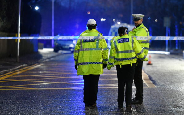 Police at the scene of the crash on Powis Terrace