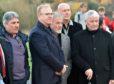 Alex McLeish, second left, in Aberdeen yesterday. Picture by Colin Rennie