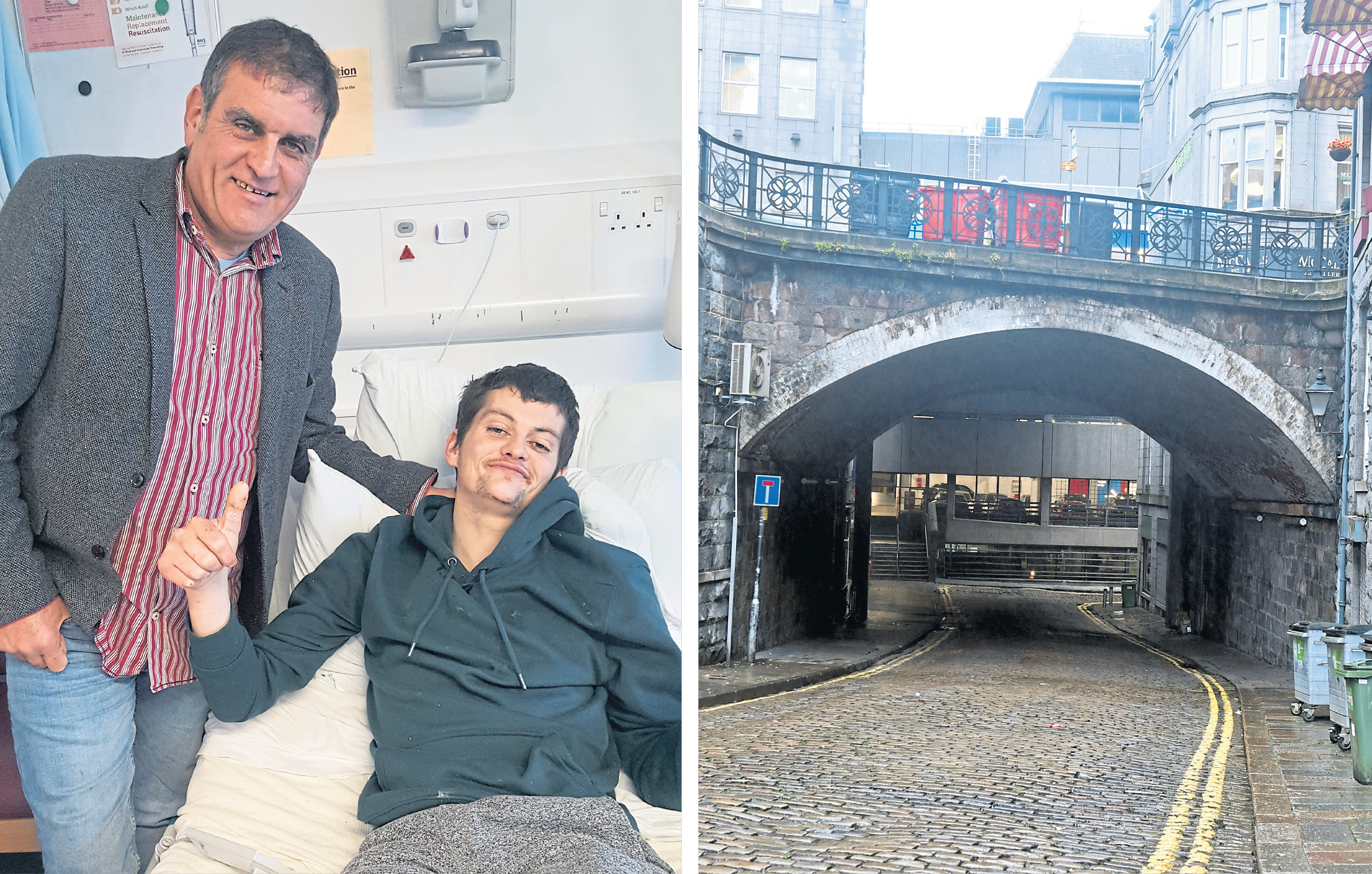 Kyle Duncan, with dad Michael, is recovering in hospital after falling from a city centre bridge