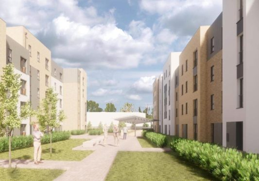 An artist's impression of the Wellheads Road development in Dyce, which was started last month