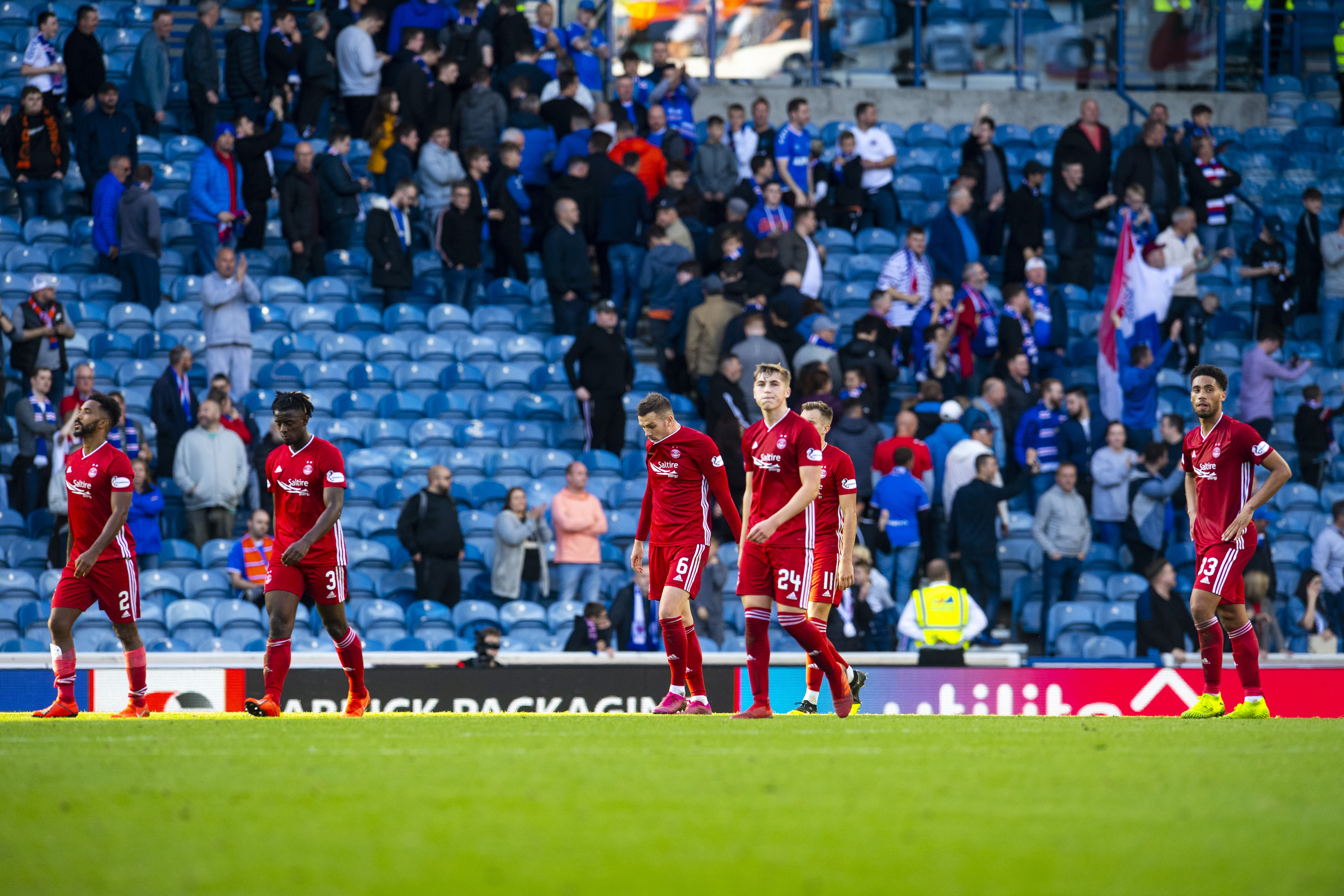 Aberdeen at full-time after being beaten by Rangers.