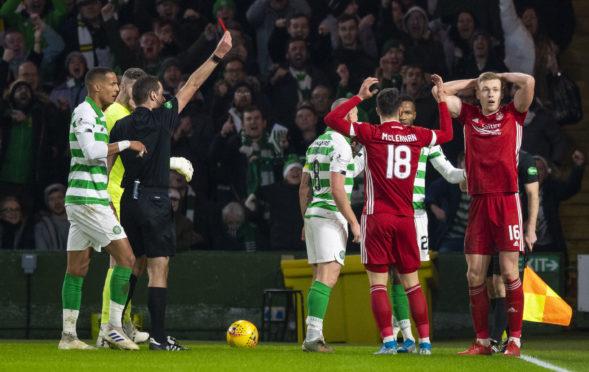 Sam Cosgrove is dismissed at Celtic Park.