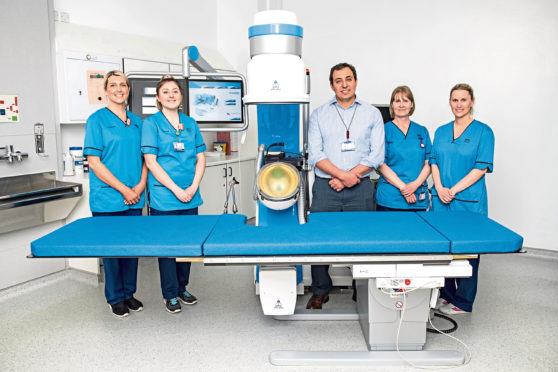 From left, staff nurses Lynn Rankin and Jackie Reid with Dr Ismail Mokadem, lithotripsy specialist radiographer Catriona MacGillivray and lithotripsy lead radiographer Laura Slater