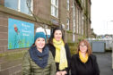 Members of the parent council and Parent Voice, from left,  Mary Rae, Hayley Cameron and Nichola Martine, who are calling for a new building for pupils
