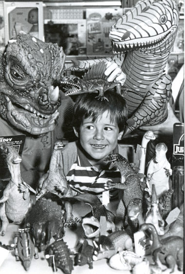 Gregor Connolly, 3, is swept up in dinomania at Schoolhill's Toy Bazaar as the popular models become almost extinct