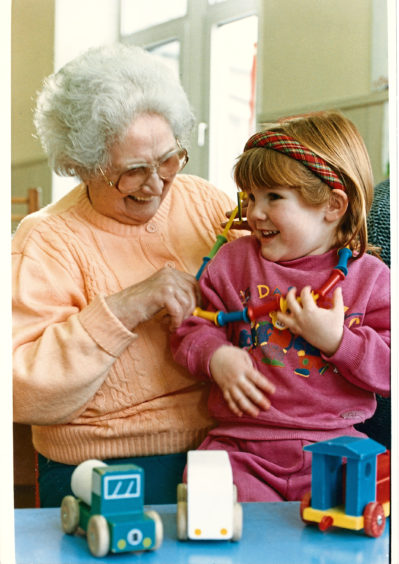 A Westhill playgroup introduces young pupil Fiona Scott to Ethel, who assists her in making necklaces