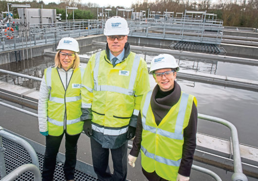 Local MSP Gillian Martin, Scottish Water Chief Executive Douglas Millican and Minister for Rural Affairs and the Natural Environment Mairi Gougeon at Inverurie's new Nereda Waste Water Treatment Works