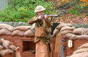 Actor Jack Elvey in the Gordon Highlanders Museum's replica trench