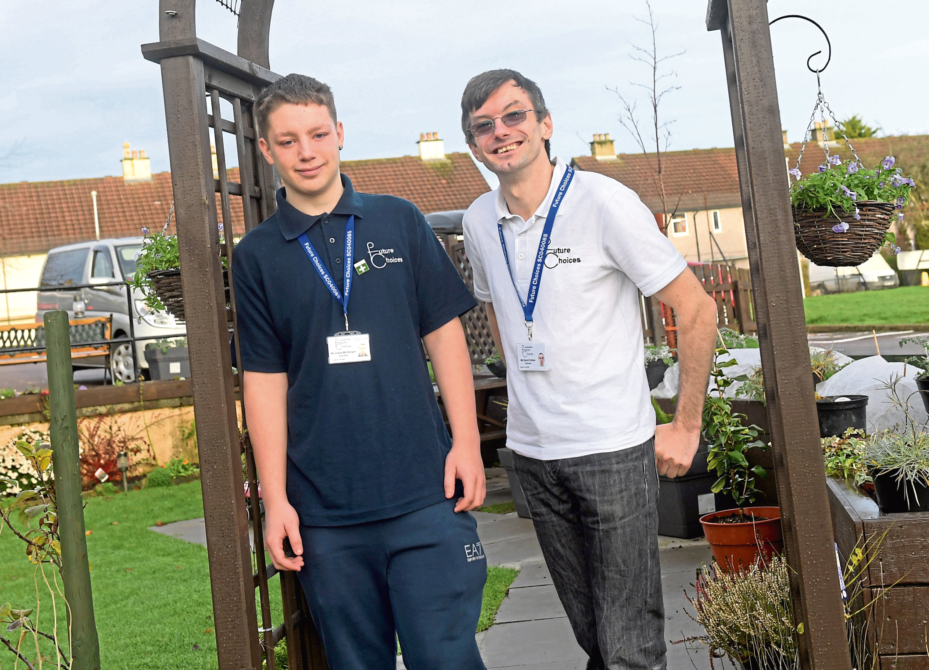 Future Choices volunteer Lewis McGregor with chairman David Forbes