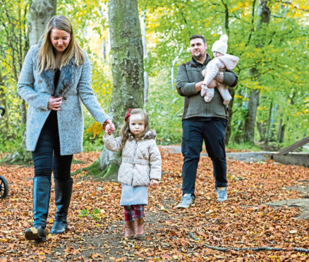 Lauren with her husband Craig and daughters Eva and Sienna