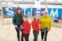 Jill Glennie, Whitehills pupils Ain Gibson, 10, and Grace Milne, 10, and Liz Hodge
