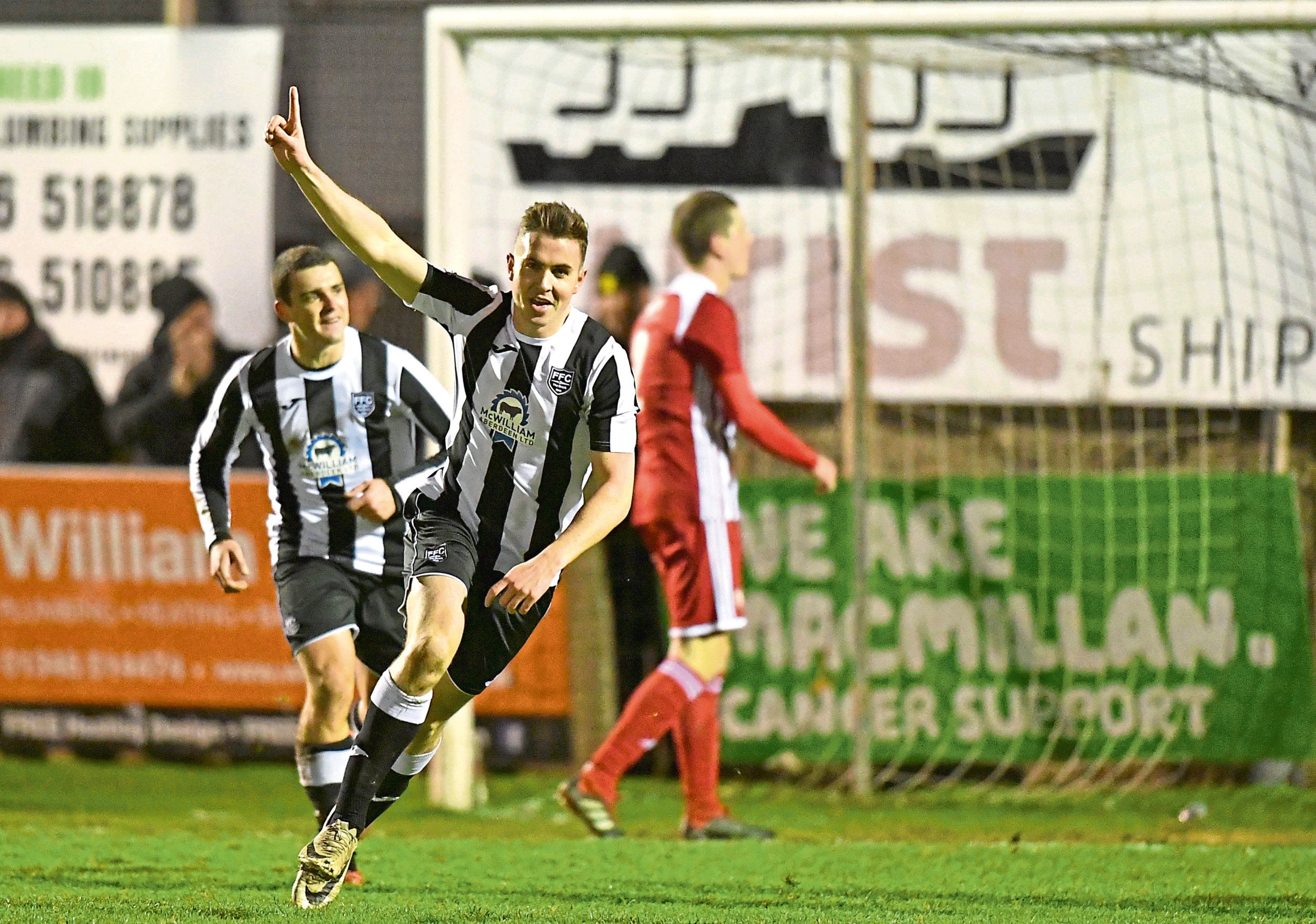 Paul Campbell celebrates scoring for Fraserburgh in their midweek Aberdeenshire Shield win.