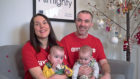 Zoe Stewart and Paddy Kelly with twins Willow and Niamh