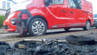 A car was damaged by the blaze