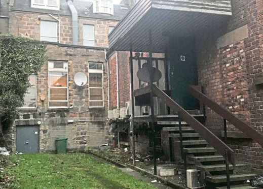 The rear yard off Union Street where the incident happened.