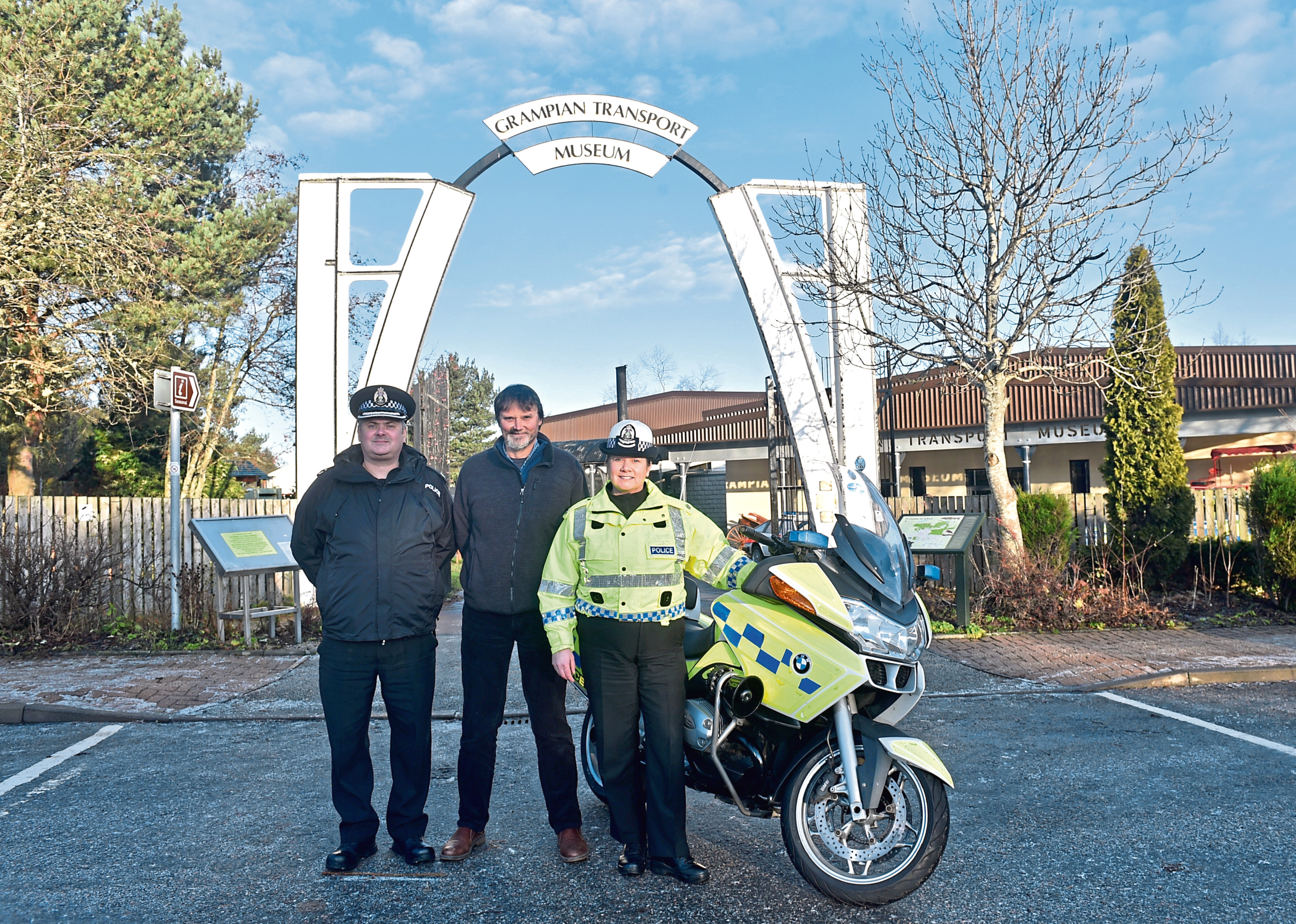 Superintendent Stewart Mackie from Police Scotland,  Mike Ward MBE, Curator, Grampian Transport Museum and Superintendent Louise Blakelock