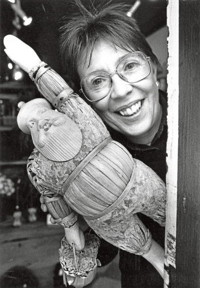 1988: Margaret Morrell with the Santa that was stolen from The Gift Horse shop in Aberdeen's Crown Stree