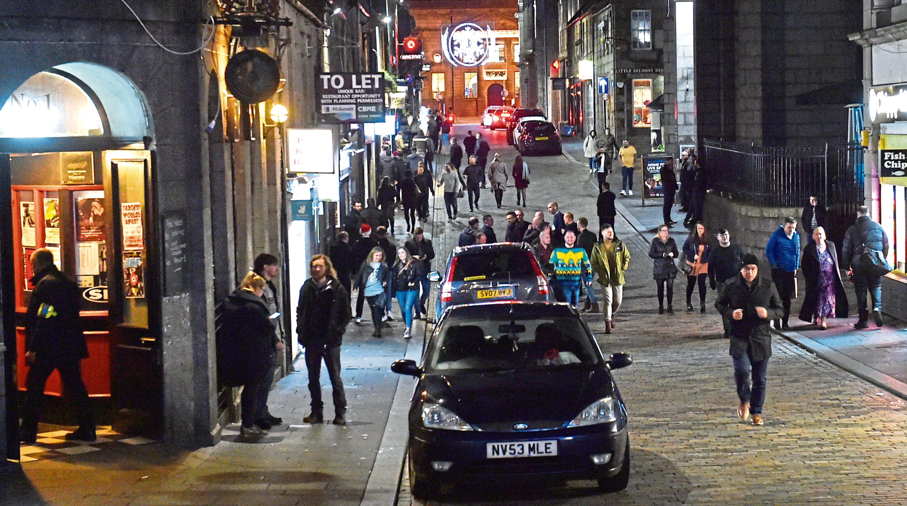 Revellers in Aberdeen city centre on Friday
