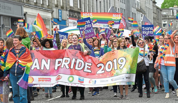 Last year's Grampian Pride parade going down Union Street.