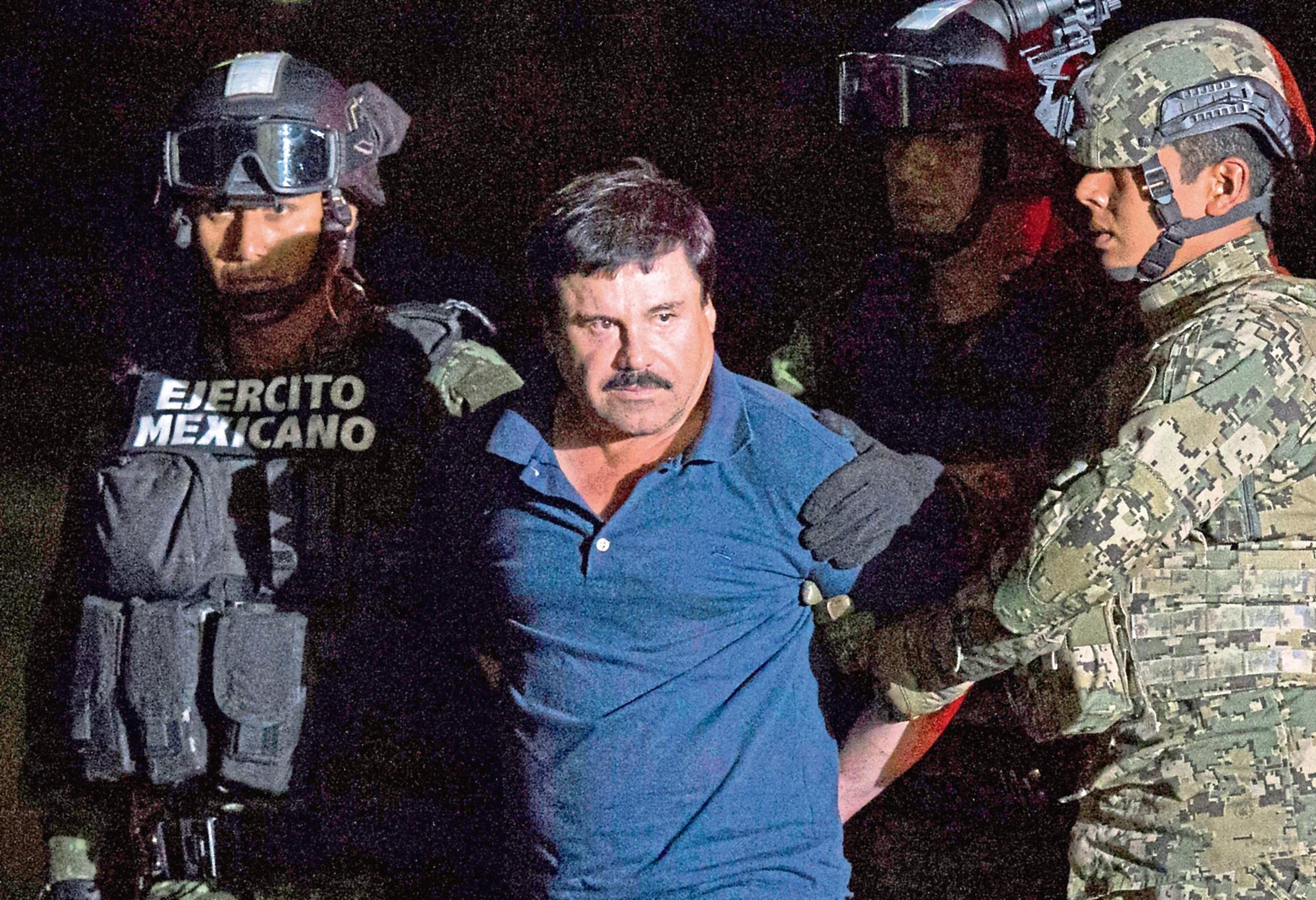 "Mexican drug lord Joaquin ""El Chapo"" Guzman is recaptured following his prison break in 2015"