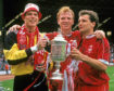 Aberdeen's Theo Snelders, Alex McLeish and Hans Gillhaus with the Scottish Cup in 1990.