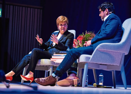 First Minister Nicola Sturgeon in conversation with author Abir Mukherjee at the Music Hall