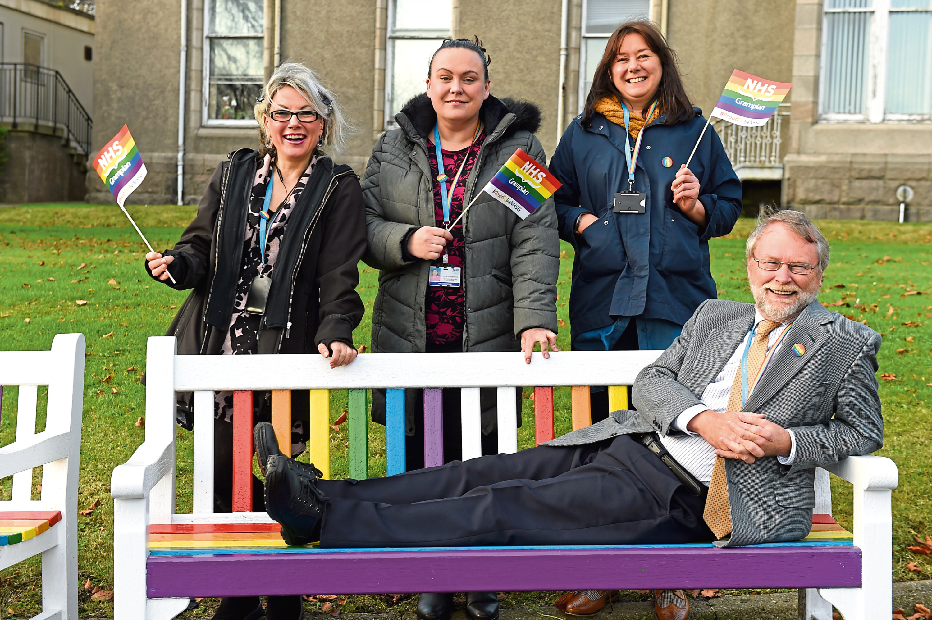 The trail-blazing team, from left, Liz Howarth, Lydia Henderson, Emma Blue and Nigel Firth have made NHS Grampian LGBT-friendly