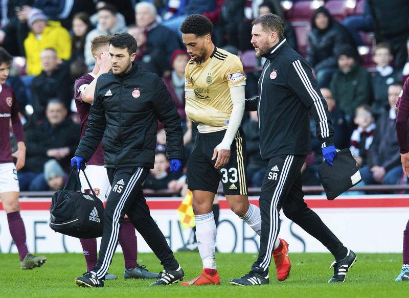 EDINBURGH, SCOTLAND - DECEMBER 29: Aberdeen's Zak Vyner Is forced off trough injury during the Ladbrokes Premiership match between Hearts and Aberdeen, at Tynecastle Park, on December 29, 2019, in Edinburgh, Scotland.