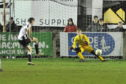 Fraserburgh's Paul Campbell scores from a penalty against Buckie.  Picture by Paul Glendell
