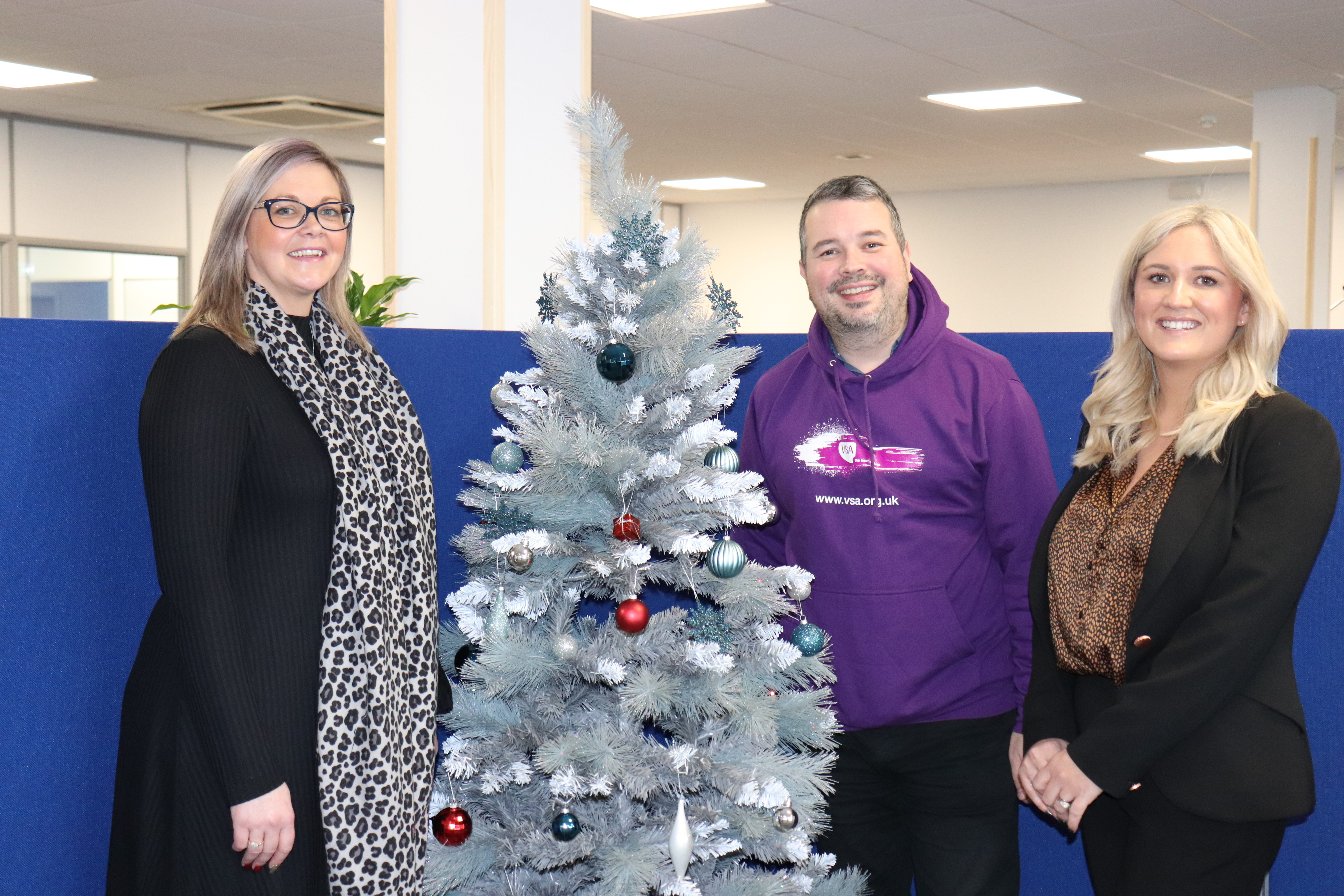 Pamela Horne, Chair of Sparrows Social Committee, Antony Ritchie, corporate fundraiser at VSA and Laura Lee, Sparrows HR Director