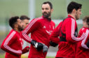 Joe Lewis during Aberdeen training at Cormack Park.