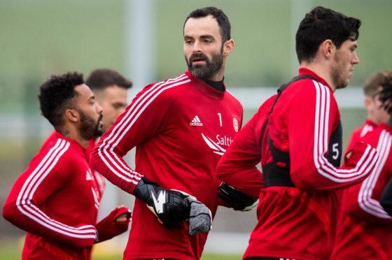 Joe Lewis during Aberdeen training at Cormack Park.