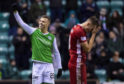 Florian Kamberi, left, celebrates after making it 3-0 to Hibernian.