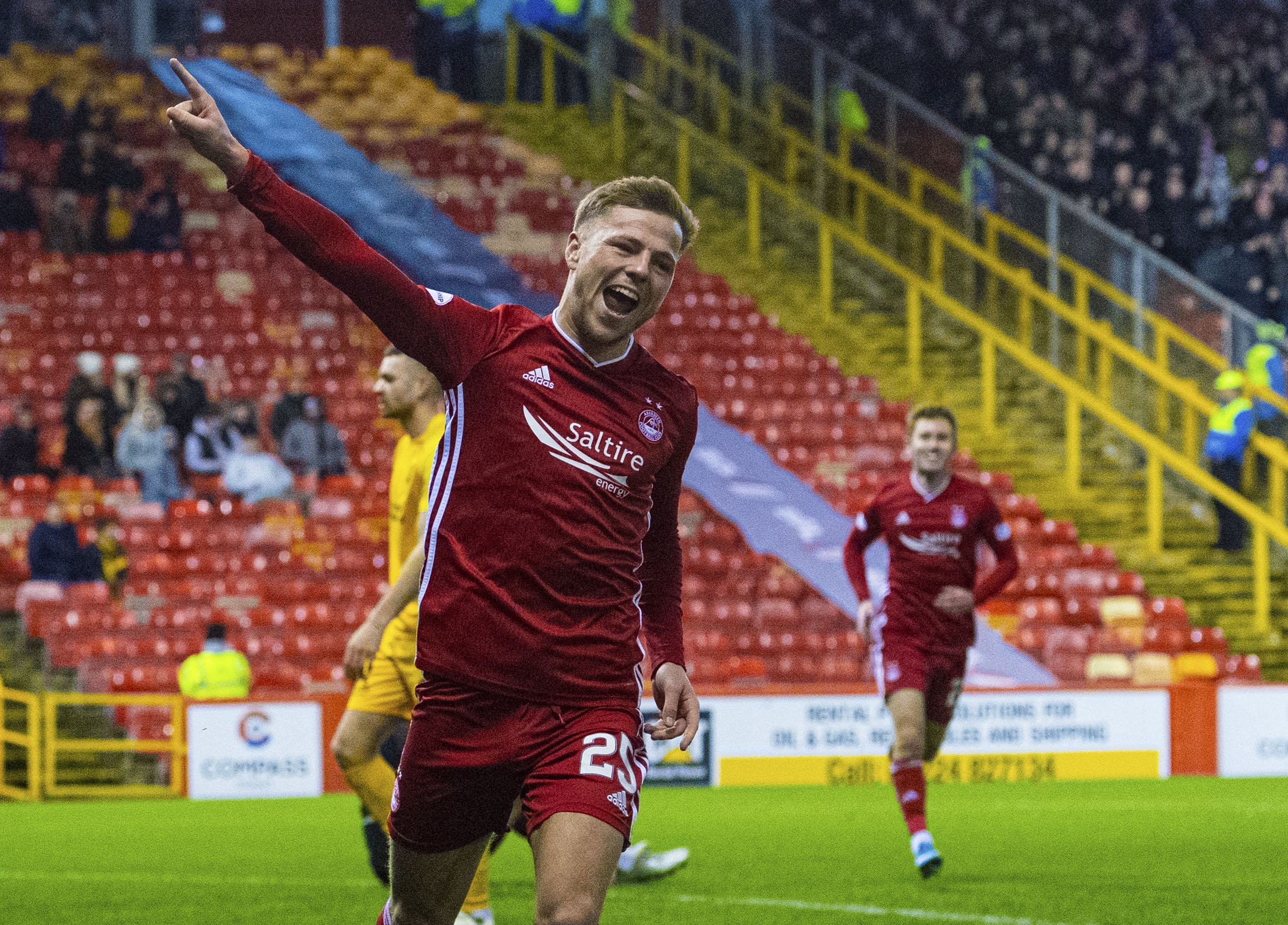 Aberdeen's Bruce Anderson makes it 2-0 during the Ladbrokes Premiership match between Aberdeen and Livingston.