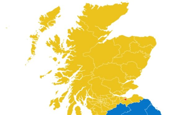 The map of mainland Scotland, based on the  exit poll