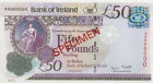 The back of a specimen version of the Bank of Ireland £50 note