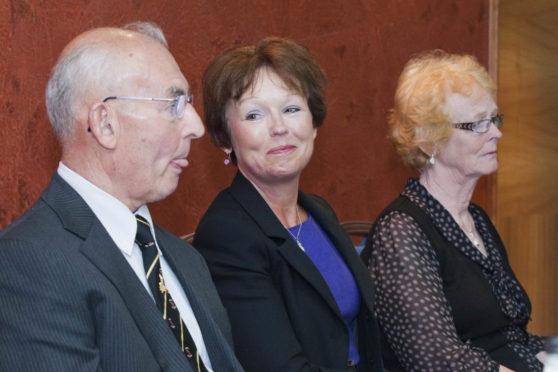 Family of Arlene Fraser. Hector McInnes, father of Arlene Fraser, Carol Gillies, sister and Isabelle Thompson, Arlene's mother at a press conference