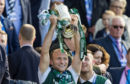 Dylan McGeouch celebrates with the William Hill Scottish Cup while at Hibs.