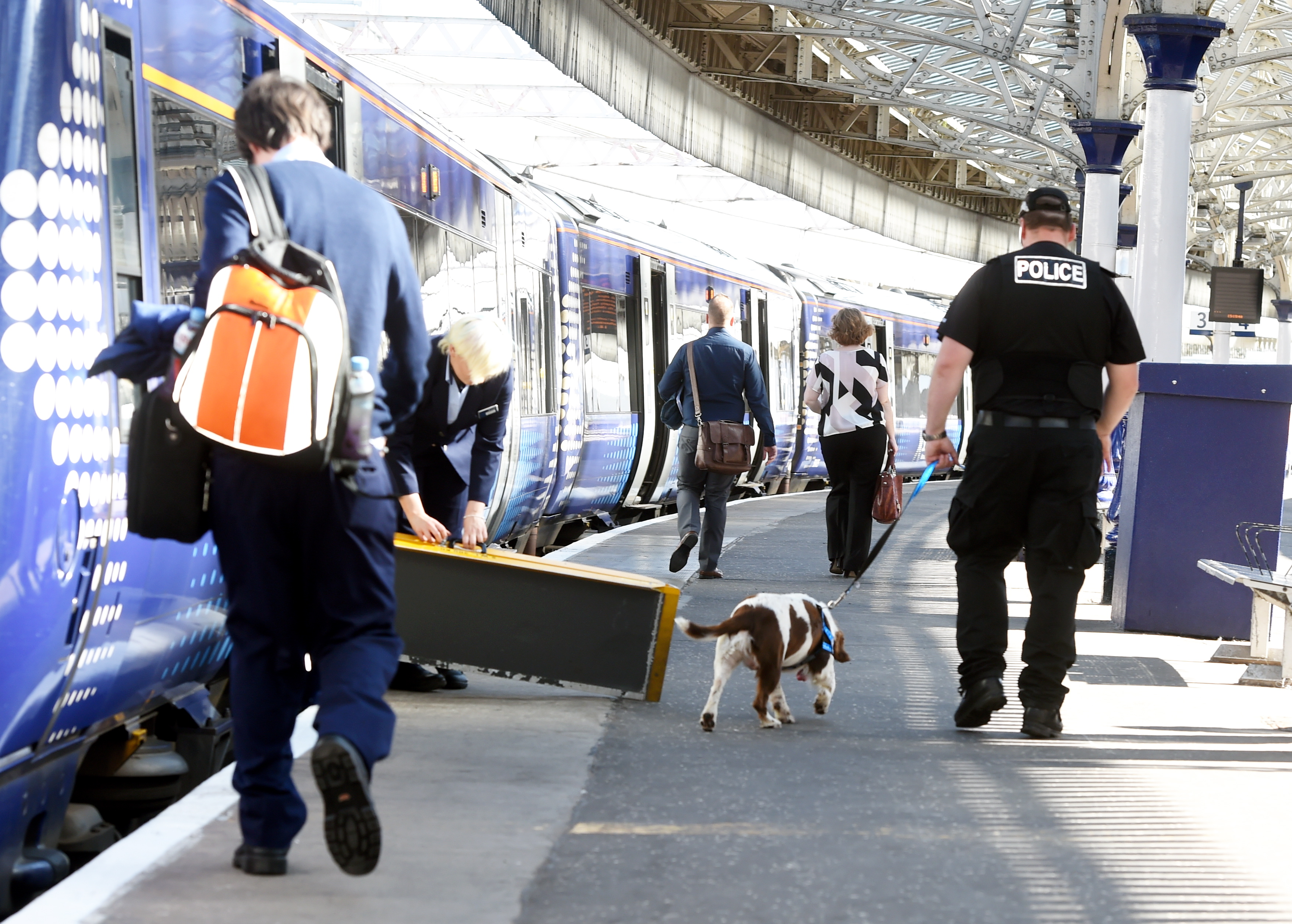 Police dogs carry out regular operations at Aberdeen train station