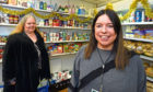 Councillor Lesley Dunbar, left, with support worker Claire Whyte at the foodbank at Woodside Fountain Centre Picture by Jim Irvine